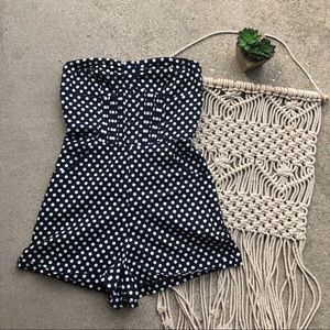 Urban Outfitters Strapless Polka Dot Romper XS